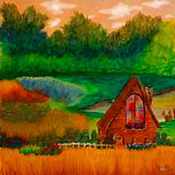 Landscape Art Print featuring the drawing Country by Karen R Scoville