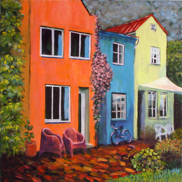 Cozy Art Print featuring the painting Cozy Street by Art Nomad Sandra Hansen