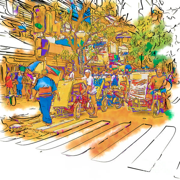 Asia Art Print featuring the drawing Crosswalk In The Philippines by Rolf Bertram