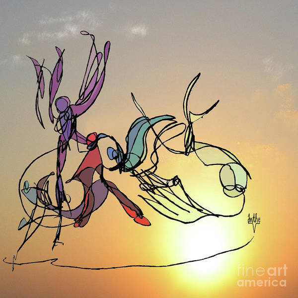 Dancers Art Print featuring the digital art Dance At Sunrise by Anthe Capitan-Valais