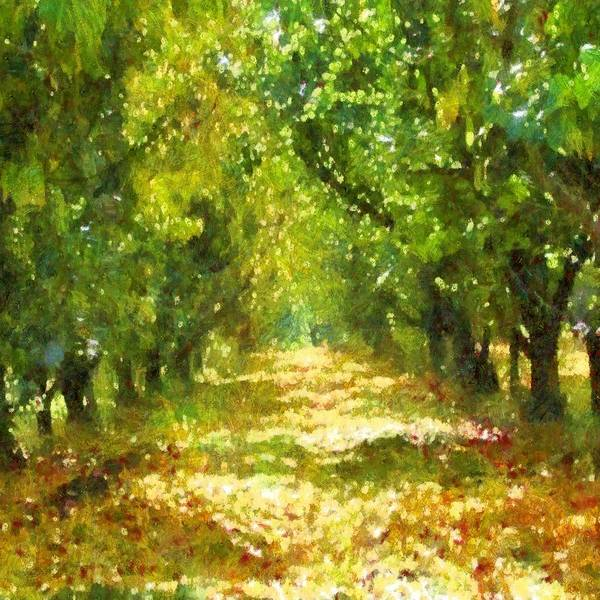 Tree Art Print featuring the painting Dappled Light Of Daydreams by Taiche Acrylic Art