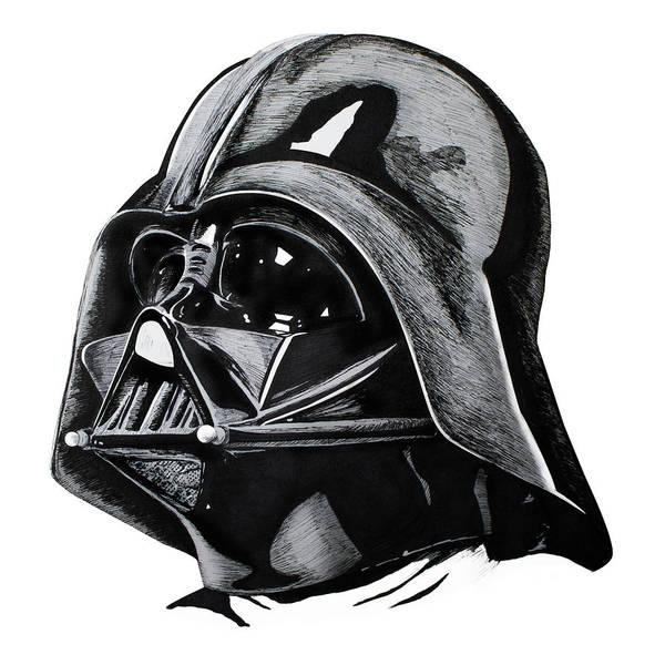 Rey Art Print featuring the drawing Darth Vader by Ivan Florentino Ramirez
