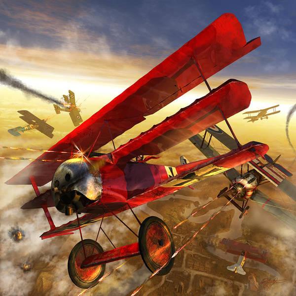 Bi Plane Art Print featuring the digital art Der Rote Baron by Kurt Miller