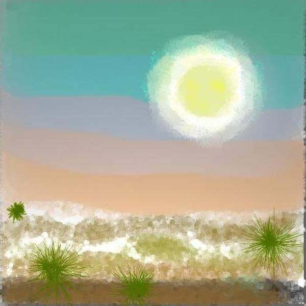 Sky.moon.desert.rest.silence.sand.prickles.moonlight. Art Print featuring the digital art Desert.night.moon by Dr Loifer Vladimir