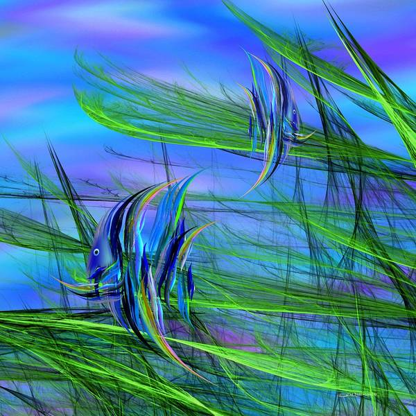 Abstract Impressionism Art Print featuring the digital art Dos Pescados En Salsa Verde by Wally Boggus