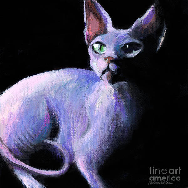 Sphynx Cat Art Print featuring the painting Dramatic Sphynx Cat Print Painting by Svetlana Novikova