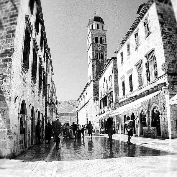 Beautiful Art Print featuring the photograph #dubrovnik #b&w #edit by Alan Khalfin