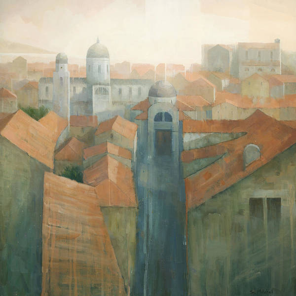 Dubrovnik Print featuring the painting Dubrovnik Rooftops by Steve Mitchell