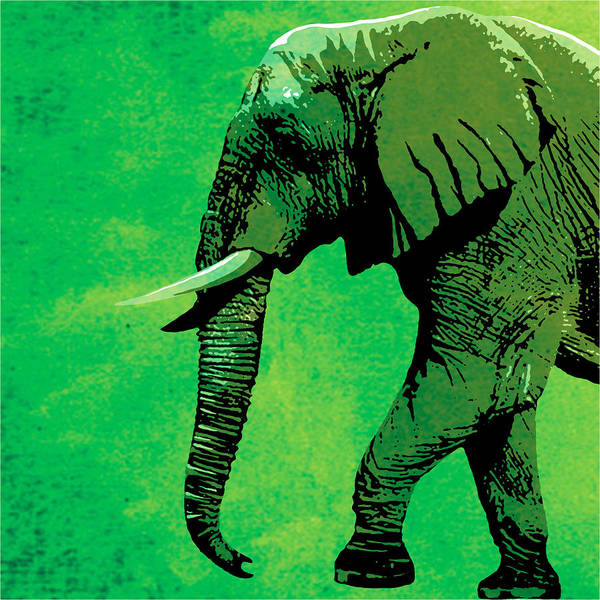 Elephant Art Print featuring the painting Elephant Animal Decorative Green Wall Poster 4 by Diana Van