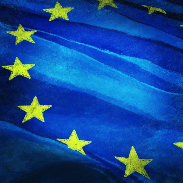 Background Art Print featuring the painting European Flag by Setsiri Silapasuwanchai