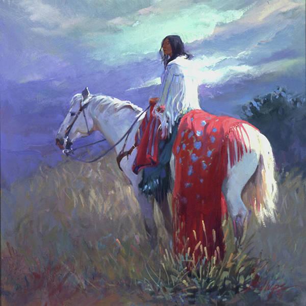 Native American Art Print featuring the digital art Evening Solitude L. E. P. by Betty Jean Billups