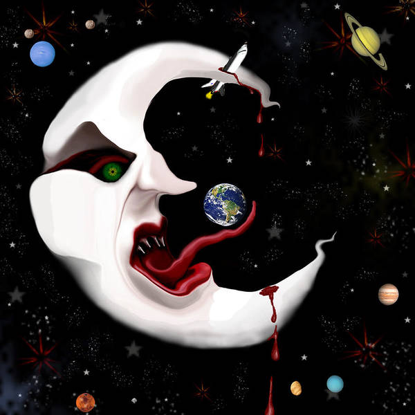 Moon Art Print featuring the digital art Evil Moon by Ruben Flanagan