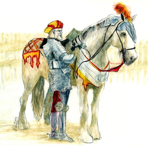 Joust Art Print featuring the painting Faire Knight by Diana Ludwig