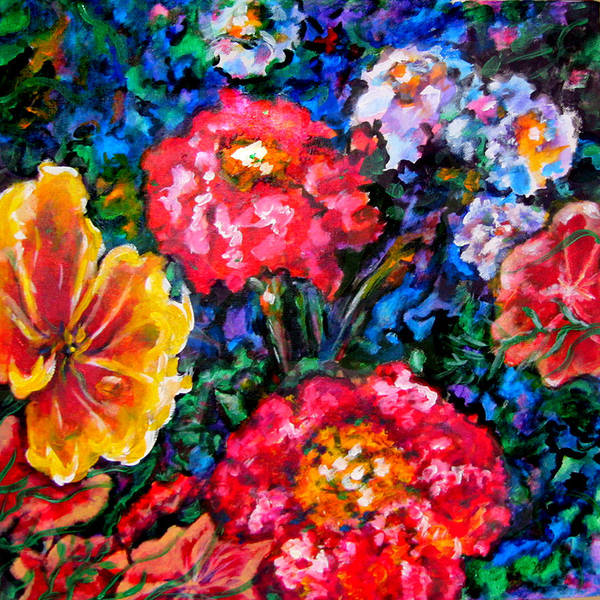 Floral Art Print featuring the painting Fetching Frivolity by Laura Heggestad