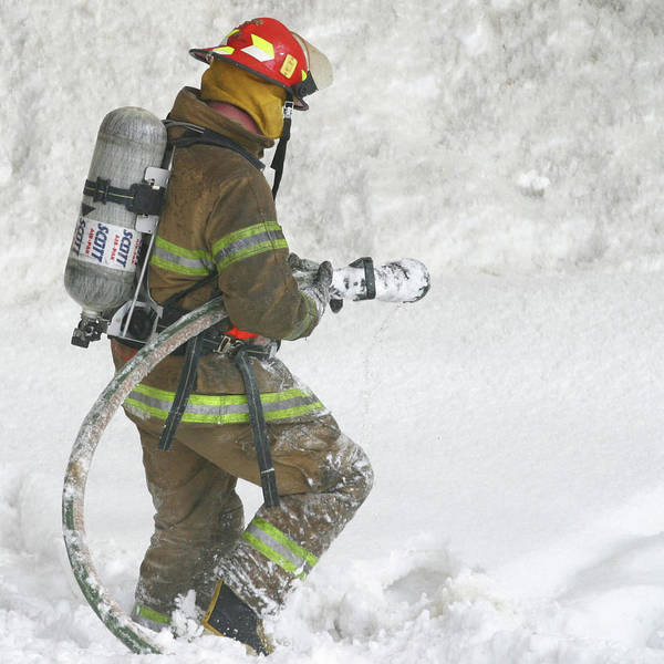 Square Art Print featuring the photograph Firefighter In The Snow by Jack Dagley