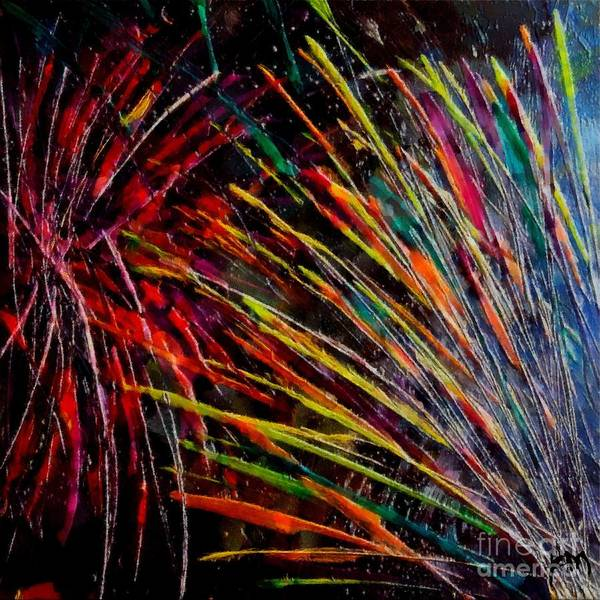 Fireworks Art Print featuring the painting Fireworks In Bled by Dragica Micki Fortuna