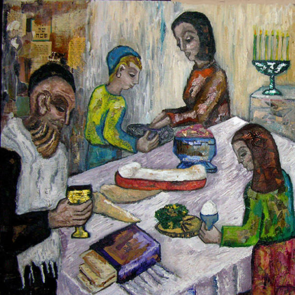 Biblical Art Print featuring the painting First Supper by Maria Alquilar