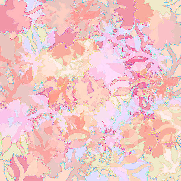 Abstract Art Print featuring the digital art Floral Menagerie by Rachel Christine Nowicki