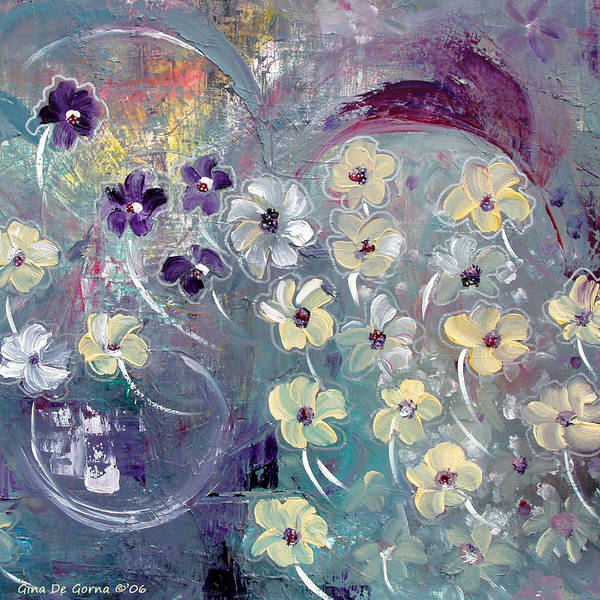 Flowers Art Print featuring the painting Flowers And Dreams 5 by Gina De Gorna
