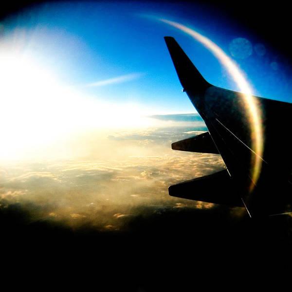 Plane Sky Sun Holga Color Photograph Art Print featuring the photograph Fly Like A Dolphin by Olivier De Rycke