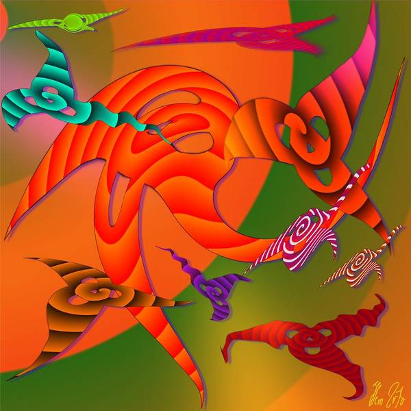 Triangles Art Print featuring the digital art Flying Triangles by Helmut Rottler