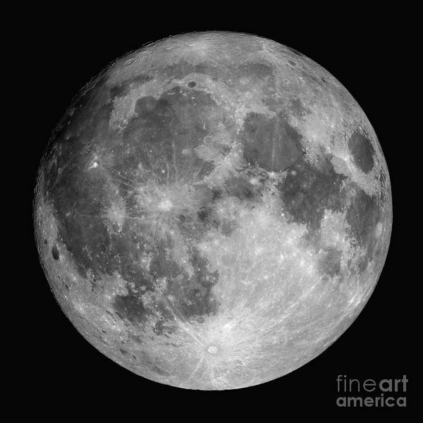 Hydrogen-alpha Art Print featuring the photograph Full Moon by Roth Ritter