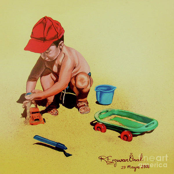 Beach Art Print featuring the painting Game At The Beach - Juego En La Playa by Rezzan Erguvan-Onal