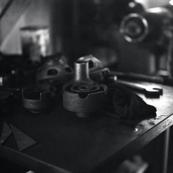 Black And White Art Print featuring the photograph Garage Tools And Parts by George Ferrell