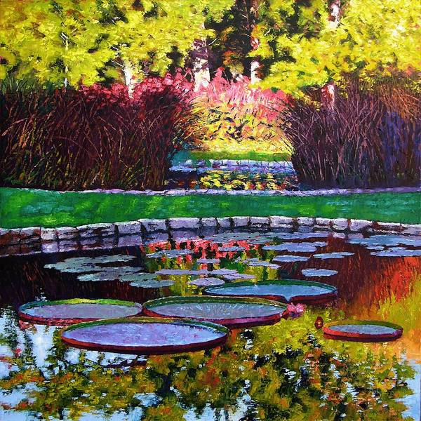 Garden Ponds Art Print featuring the painting Garden Ponds - Tower Grove Park by John Lautermilch