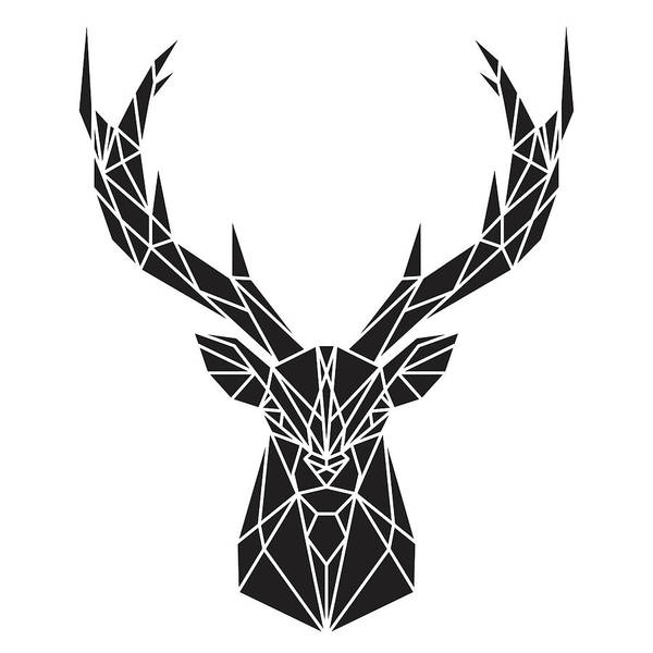 Geometric Deer Head Art Print By Atelier B Art Studio