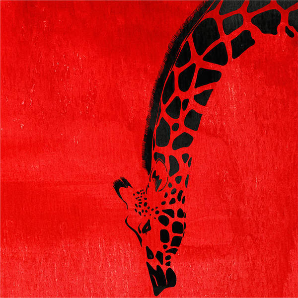 Giraffe Art Print featuring the painting Giraffe Animal Decorative Red Wall Poster 3 - By Diana Van by Diana Van