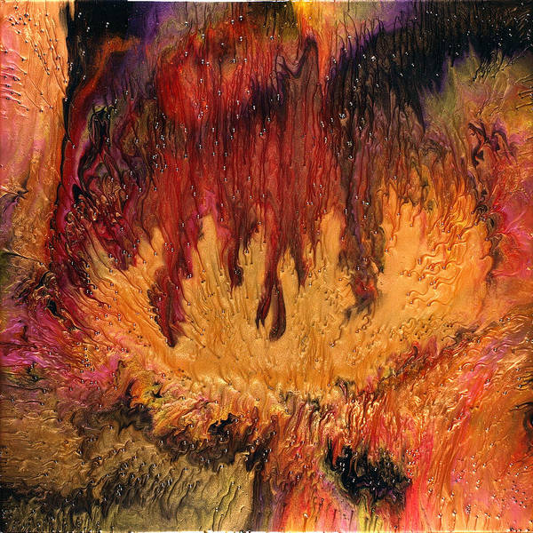 Abstract Art Print featuring the painting Glowing Caves by Paul Tokarski