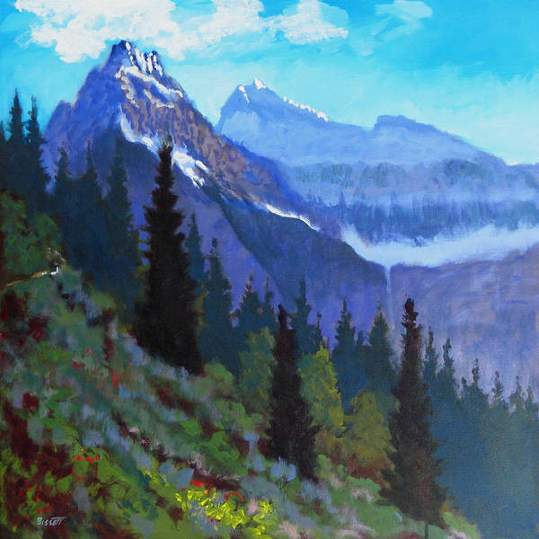 Glacier Art Print featuring the painting Going To The Sun Road by Robert Bissett