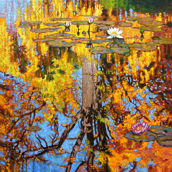 Landscape Art Print featuring the painting Golden Reflections On Lily Pond by John Lautermilch