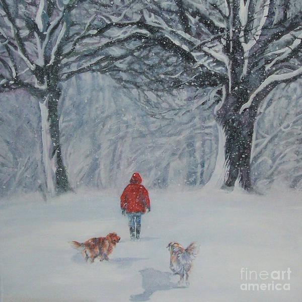 Golden Retriever Art Print featuring the painting Golden Retriever Winter Walk by Lee Ann Shepard