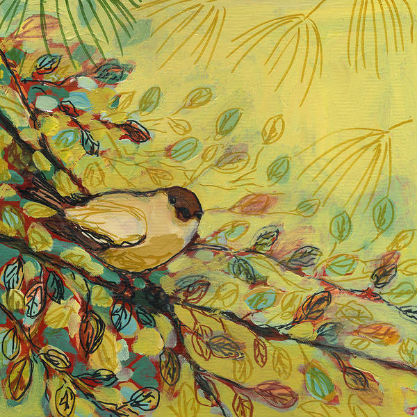 Bird Art Print featuring the painting Goldfinch Waiting by Jennifer Lommers