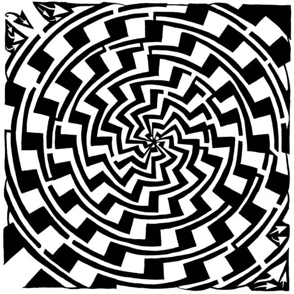 Gradient Art Print featuring the drawing Gradient Tunnel Spin Maze by Yonatan Frimer Maze Artist