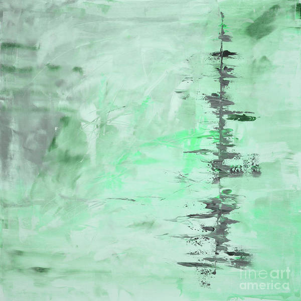 Green Art Print featuring the painting Green Gray Abstract by Voros Edit