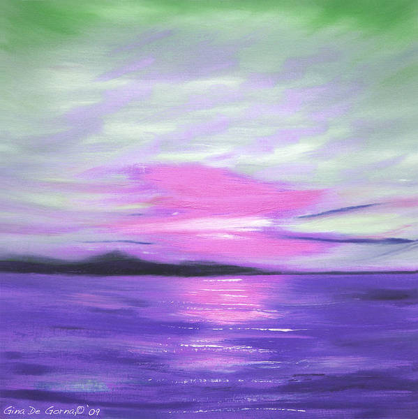 Green Art Print featuring the painting Green Skies And Purple Seas Sunset by Gina De Gorna