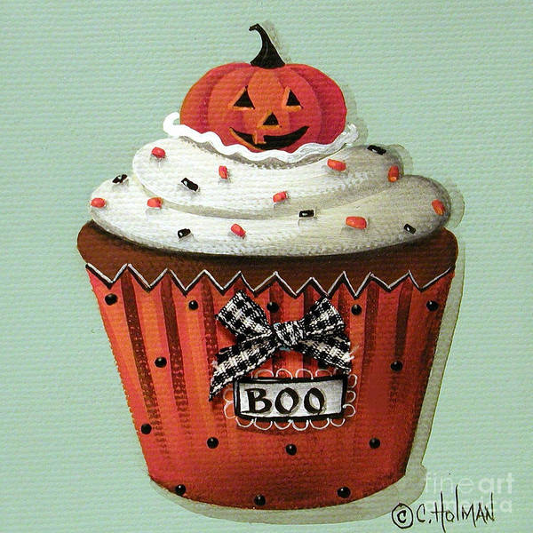 Art Print featuring the painting Halloween Pumpkin Cupcake by Catherine Holman
