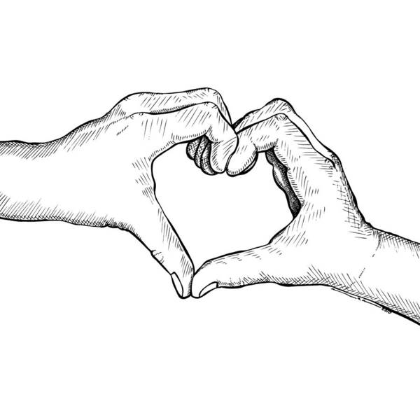 Drawing Art Print featuring the drawing Heart Hands by Karl Addison