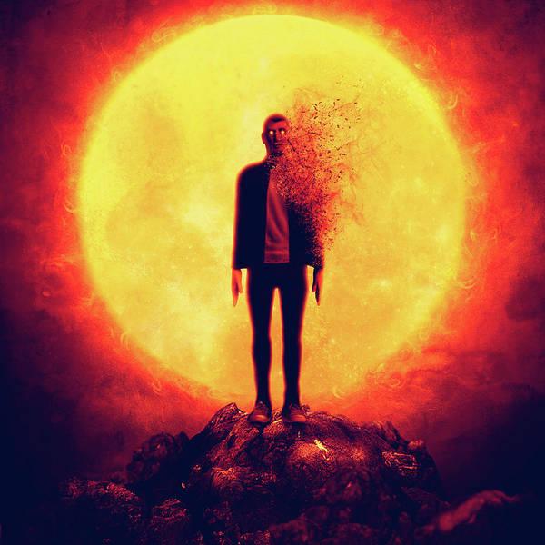 Moon Boy Surreal Mountain Red Apocalypse Smoke Glow Art Print featuring the digital art Hiluna by Gio Karlo Birondo