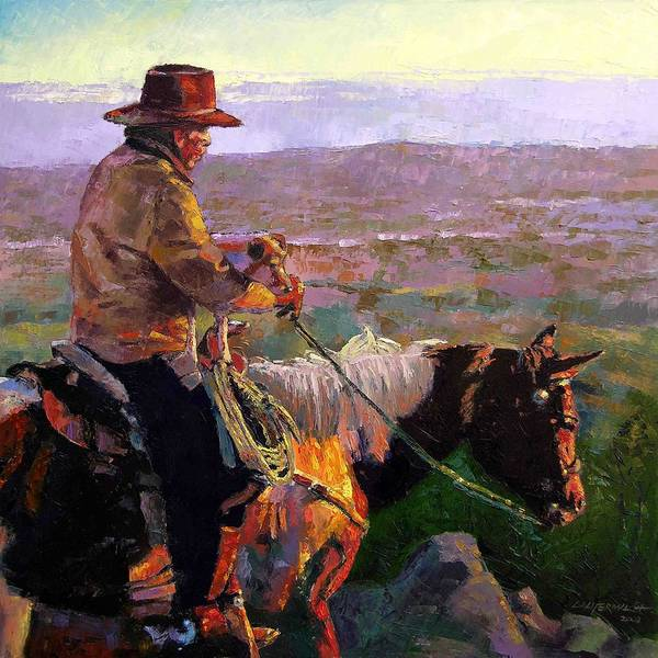 Coyboy Art Print featuring the painting His Two Best Friends by John Lautermilch