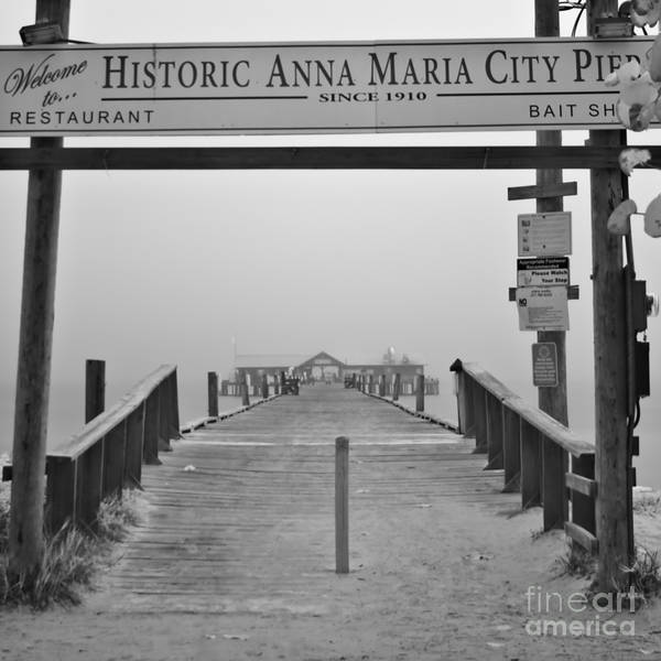Anna Maria Island Art Print featuring the photograph Historic Anna Maria City Pier In Fog Infrared 52 by Rolf Bertram
