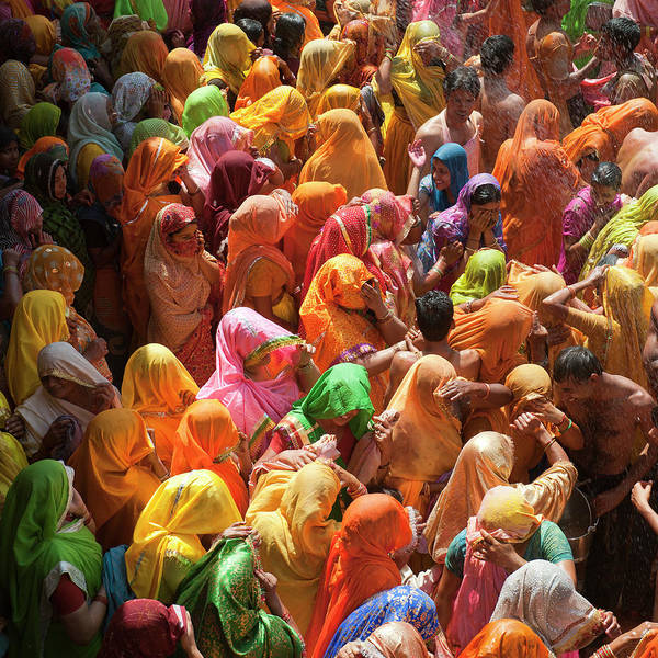 Square Art Print featuring the photograph Holi India by Tayseer AL-Hamad