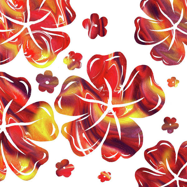 Flowers Art Print featuring the painting Hot Flowers Dancing Silhouettes by Irina Sztukowski