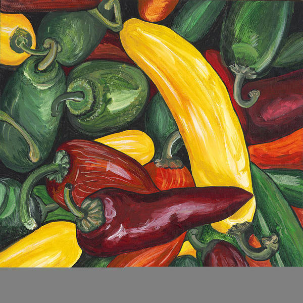 Peppers Art Print featuring the painting Hot Peppers by Patty Vicknair