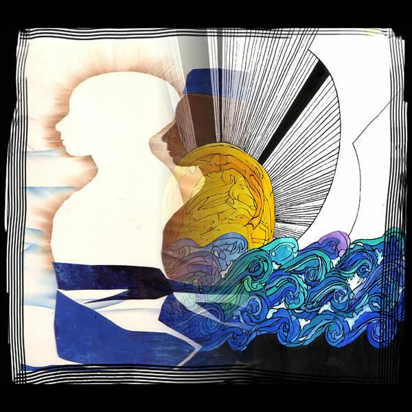 Black White Sun Art Print featuring the mixed media Ich Und Ich by Amrei Al-Tobaishi-Jarosch