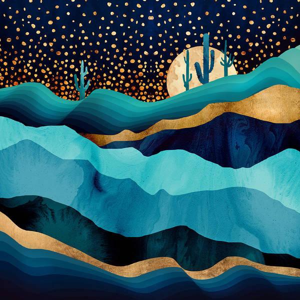 Indigo Art Print featuring the digital art Indigo Desert Night by Spacefrog Designs