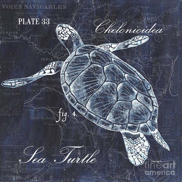 Turtle Art Print featuring the painting Indigo Verde Mar 2 by Debbie DeWitt